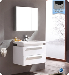 Fresca Medio White Modern Bathroom Vanity with Medicine Cabinet