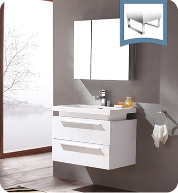 "Fresca FVN8080WH Medio 32"" White Modern Bathroom Vanity with Medicine Cabinet"