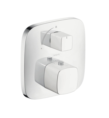 Hansgrohe 15775401 PuraVida Thermostatic Trim with Volume Control in White/Chrome