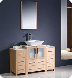 "Fresca FVN62-122412LO-VSL Torino 48"" Modern Bathroom Vanity with 2 Side Cabinets and Vessel Sink in Light Oak"