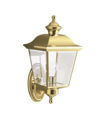 "Kichler 9713PB Bay Shore 1 Light 9 1/4"" Incandescent Outdoor Wall Sconce in Polished Brass"