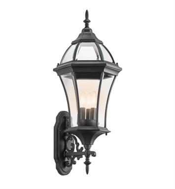 Kichler 49185BK Townhouse 3 Light Incandescent Outdoor Wall Sconce with Lantern Shaped Glass Shade With Finish: Black