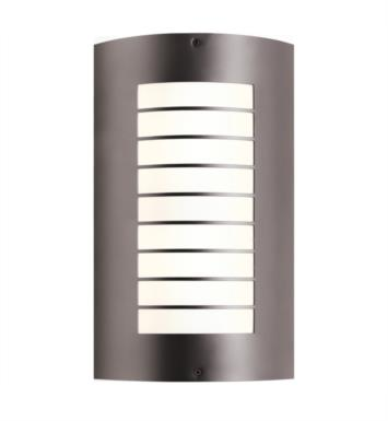 Kichler 6048NI Newport 2 Light Compact Fluorescent Outdoor Wall Sconce with Half Cylinderical Shaped Glass Shade With Finish: Brushed Nickel