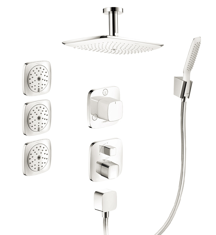 hansgrohe puravida shower system with handshower and bodysprays in whitechrome dual