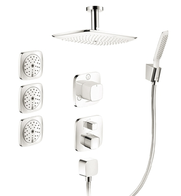 Hansgrohe HG-PRSHOWERSYS3 PuraVida Shower System with Handshower and Bodysprays in White/Chrome Dual Finish