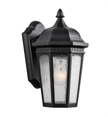 "Kichler 9032BKT Courtyard 1 Light 6 1/4"" Incandescent Outdoor Wall Sconce with Lantern Shaped Glass Shade With Finish: Textured Black"