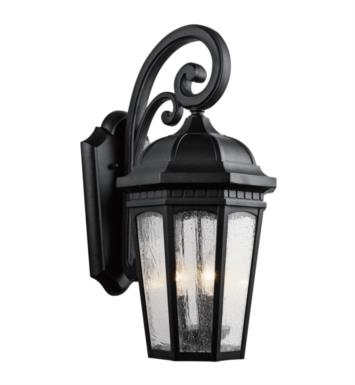 "Kichler 9034BKT Courtyard 3 Light 10 1/4"" Incandescent Outdoor Wall Sconce with Lantern Shaped Glass Shade With Finish: Textured Black"
