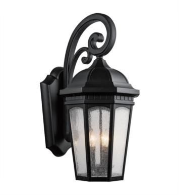 "Kichler 9035BKT Courtyard 3 Light 12 1/4"" Incandescent Outdoor Wall Sconce with Lantern Shaped Glass Shade With Finish: Textured Black"