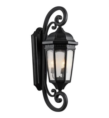 "Kichler 9060RZ Courtyard 3 Light 13 1/2"" Incandescent Outdoor Wall Sconce with Lantern Shaped Glass Shade With Finish: Rubbed Bronze"