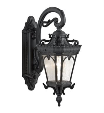 "Kichler 9356BKT Tournai 1 Light 7 1/2"" Incandescent Outdoor Wall Sconce with Lantern Shaped Glass Shade With Finish: Textured Black"