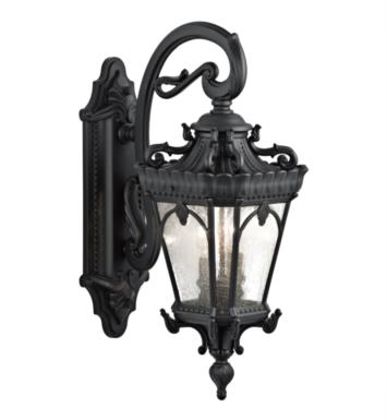 "Kichler 9357BKT Tournai 2 Light 10"" Incandescent Outdoor Wall Sconce with Lantern Shaped Glass Shade With Finish: Textured Black"