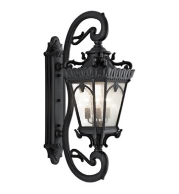 "Kichler 9360 Tournai 4 Light 17"" Incandescent Outdoor Wall Sconce with Lantern Shaped Glass Shade"