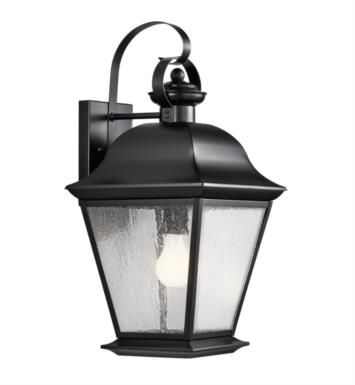 "Kichler 9709BK Mount Vernon 1 Light 9 1/2"" Incandescent Outdoor Wall Sconce with Rectangular Shaped Glass Shade With Finish: Black"
