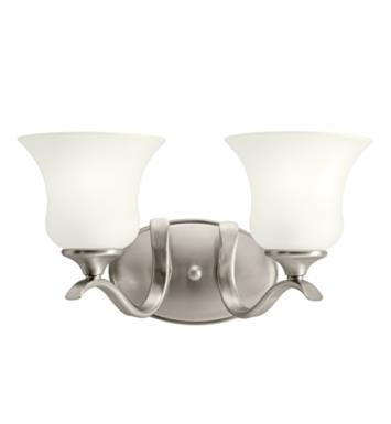 "Kichler 10637 Wedgeport 2 Light 15"" Compact Fluorescent Wall Mount Bath Light with Bell Shaped Glass Shade"