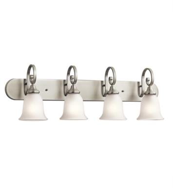 "Kichler 45056OZ Monroe 4 Light 36"" Incandescent Wall Mount Bath Light with Bell Shaped Glass Shade With Finish: Olde Bronze"