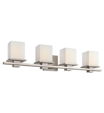 "Kichler 45152CH Tully 4 Light 32"" Incandescent Wall Mount Bath Light with Square Shaped Glass Shade With Finish: Chrome"
