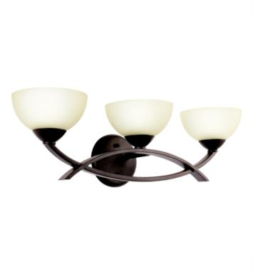 "Kichler 45163AP Bellamy 3 Light 24"" Incandescent Wall Mount Bath Light with Bowl Shaped Glass Shade With Finish: Antique Pewter"