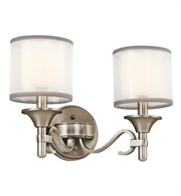 "Kichler 45282MIZ Lacey 2 Light 14"" Incandescent Wall Mount Bath Light with Drum Shaped Glass Shade With Finish: Mission Bronze"