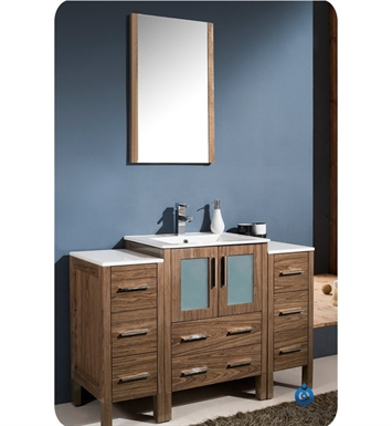 "Fresca FVN62-122412WB-UNS Torino 48"" Modern Bathroom Vanity with 2 Side Cabinets and Integrated Sink in Walnut Brown"