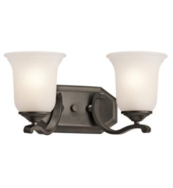 "Kichler 45402CLP Wellington Square 2 Light 16"" Incandescent Wall Mount Bath Light with Bell Shaped Glass Shade With Finish: Classic Pewter"