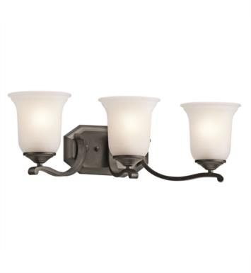 "Kichler 45403OZ Wellington Square 3 Light 24"" Incandescent Wall Mount Bath Light with Bell Shaped Glass Shade With Finish: Olde Bronze"