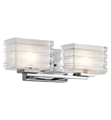 "Kichler 45478NI Bazely 2 Light 15"" Halogen Wall Mount Bath Light with Rectangle Shaped Glass Shade With Finish: Brushed Nickel"