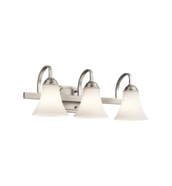 "Kichler 45513OZ Keiran 3 Light 22"" Incandescent Wall Mount Bath Light with Bell Shaped Glass Shade With Finish: Olde Bronze"