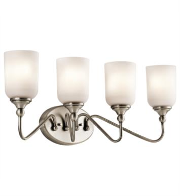 "Kichler 45553CH Lilah 4 Light 28"" Incandescent Wall Mount Bath Light with Cylinder Shaped Glass Shade With Finish: Chrome"