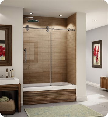 "Fleurco KT057-35-40L-C Kinetik In Line Tub Door and Panel With Dimensions: Width: 57"" to 58 1/2"" 