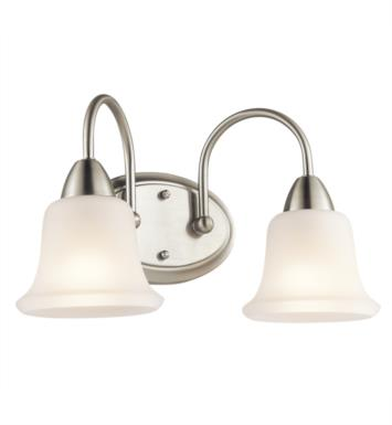 "Kichler 45882NI Nicholson 2 Light 16"" Incandescent Wall Mount Bath Light with Bell Shaped Glass Shade With Finish: Brushed Nickel"