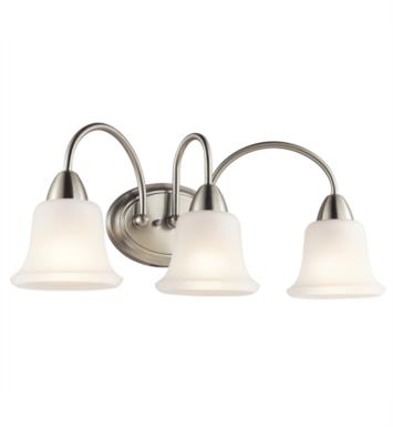 "Kichler 45883NI Nicholson 3 Light 24"" Incandescent Wall Mount Bath Light with Bell Shaped Glass Shade With Finish: Brushed Nickel"