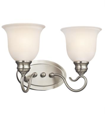 "Kichler 45902NI Tanglewood 2 Light 14 3/4"" Incandescent Wall Mount Bath Light with Bell Shaped Glass Shade With Finish: Brushed Nickel"