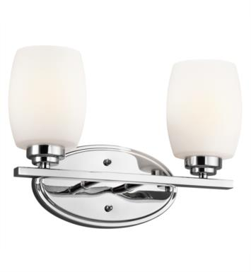 "Kichler 5097OZ Eileen 2 Light 14 1/4"" Incandescent Wall Mount Bath Light with Cylinder Shaped Glass Shade With Finish: Olde Bronze"
