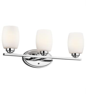"Kichler 5098NI Eileen 3 Light 24"" Incandescent Wall Mount Bath Light with Cylinder Shaped Glass Shade With Finish: Brushed Nickel"