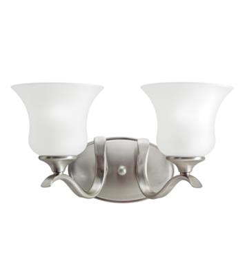 "Kichler 5285NI Wedgeport 2 Light 15"" Incandescent Wall Mount Bath Light with Bell Shaped Glass Shade With Finish: Brushed Nickel"