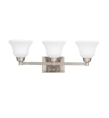 "Kichler 5390NI Langford 3 Light 26 1/4"" Incandescent Wall Mount Bath Light with Bell Shaped Glass Shade With Finish: Brushed Nickel"