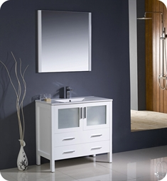 "Fresca FVN6236WH-UNS Torino 36"" Modern Bathroom Vanity with Integrated Sink in White"