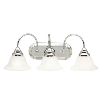 "Kichler 5993CH Telford 3 Light 24 3/4"" Incandescent Wall Mount Bath Light with Bell Shaped Glass Shade With Finish: Chrome"