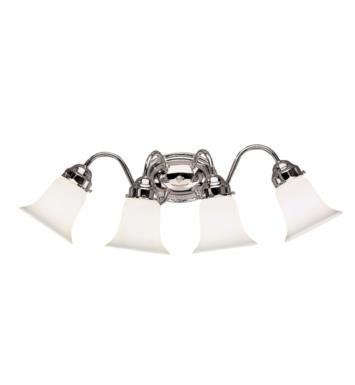 "Kichler 6124CH 4 Light 25 1/2"" Incandescent Wall Mount Bath Light with Bell Shaped Glass Shade With Finish: Chrome"