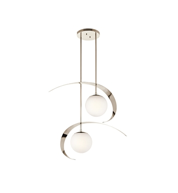 Kichler 42037PN Escala Collection Pendant 2 Light in Polished Nickel
