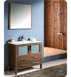 "Fresca Torino 36"" Walnut Brown Modern Bathroom Vanity with Integrated Sink"