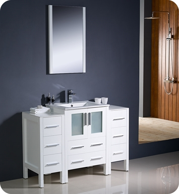 "Fresca FVN62-122412WH-UNS Torino 48"" Modern Bathroom Vanity with 2 Side Cabinets and Integrated Sink in White"