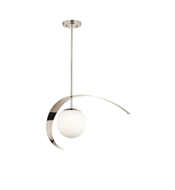 Kichler 42036PN Escala Collection Pendant 1 Light in Polished Nickel