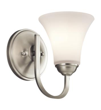 "Kichler 45504NI Keiran 1 Light 6"" Incandescent Wall Sconce with Bell Shaped Glass Shade With Finish: Brushed Nickel"