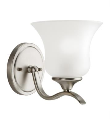 "Kichler 5284NI Wedgeport 1 Light 6 1/2"" Incandescent Wall Sconce with Bell Shaped Glass Shade With Finish: Brushed Nickel"