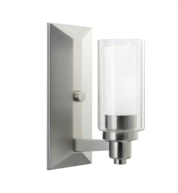 "Kichler 6144NI Circolo 1 Light 4 1/2"" Incandescent Wall Sconce with Cylinder Shaped Glass Shade With Finish: Brushed Nickel"