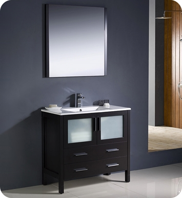 "Fresca FVN6236ES-UNS Torino 36"" Modern Bathroom Vanity with Integrated Sink in Espresso"