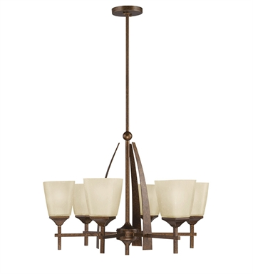 Kichler Souldern Collection Chandelier 6 Light in Marbled Bronze