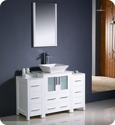 "Fresca Torino 48"" White Modern Bathroom Vanity with 2 Side Cabinets and Vessel Sink"