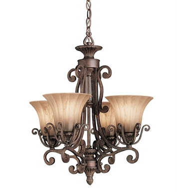 Kichler 1854CZ Cottage Grove Collection Chandelier 4 Light in Carre Bronze